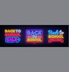 back to school neon sign collection back vector image