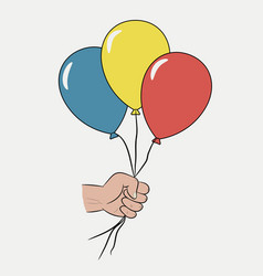 balloons in the hand vector image