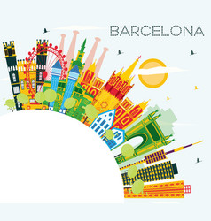 barcelona skyline with color buildings blue sky vector image