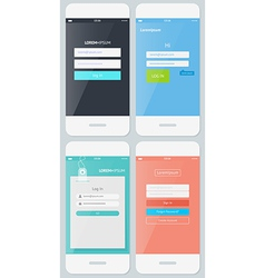 Beautiful examples login forms for apps vector