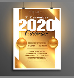 Beautiful golden 2020 new year party celebration vector