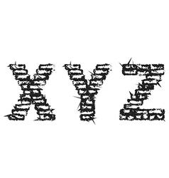 Black empty decorative aggressive brick style font vector image
