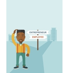 Black guy confused with enterpreneur or employee vector image