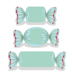 Blue candies set includes square oval and rectangu vector