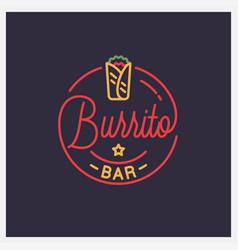 burrito bar logo round linear mexican burrito vector image
