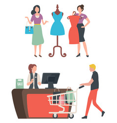 Buying and choosing clothes fashion store vector