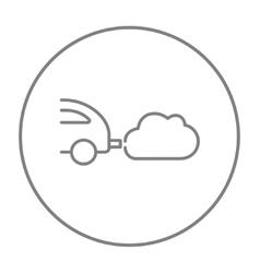 Car spewing polluting exhaust line icon vector