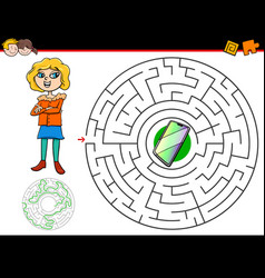 Cartoon maze game with girl and phone vector