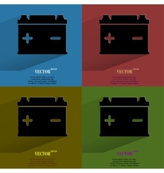 Color setCar battery Flat modern web button with vector image