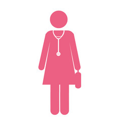 color silhouette pictogram female doctor with vector image