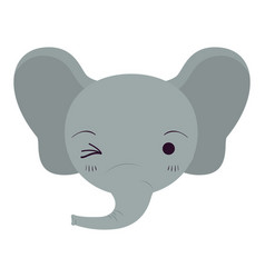 colorful caricature cute face of elephant wink eye vector image