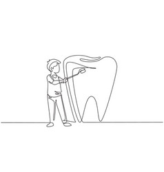 Continuous one line drawing boy brushing giant vector