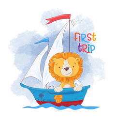 cute cartoon lion on a sailing ship vector image
