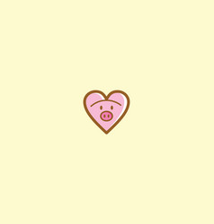 cute pig love logo icon vector image