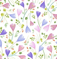 cute seamless texture with crocuses vector image