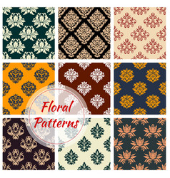 Damask seamless pattern with floral ornament vector
