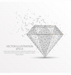 diamond low poly wire frame on white background vector image