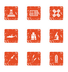 Difficult material icons set grunge style vector