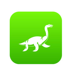 elasmosaurine dinosaur icon digital green vector image