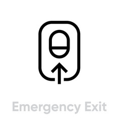 emergency airplane exit icon editable line vector image