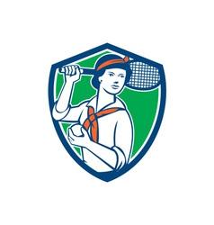 Female Tennis Player Racquet Vintage Shield Retro vector image