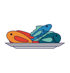 fishes seafood on dish vector image