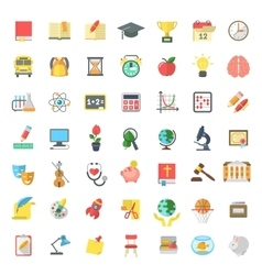 Flat colorful school subjects icons isolated vector