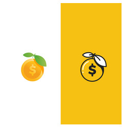 Fresh money logo gold apple and dollar coin vector