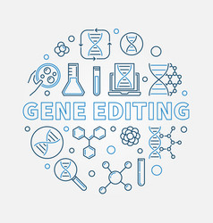 gene editing round in linear vector image