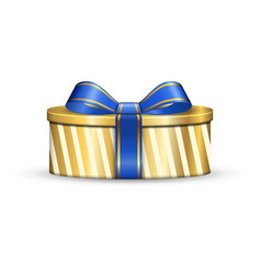 gift box 3d blue ribbon bow isolated white vector image