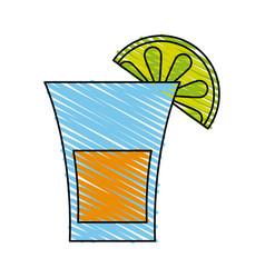 glass lemon doodle vector image vector image