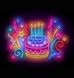 glow holiday cake with candles and confetti vector image