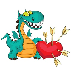 great dragon and heart vector image