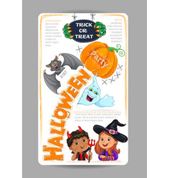 Halloween party design with cute kids invitation vector