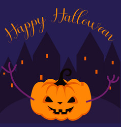 happy halloween spooky pumpkin greeting card vector image