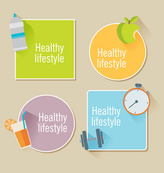 Healthy lifestyle flat stickers food water and vector
