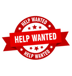 help wanted ribbon help wanted round red sign vector image