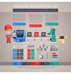 Industry Infographic Set with Factory Conveyor and vector image