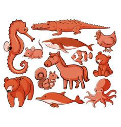 isolated set many animals vector image