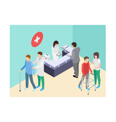 isometric hospital registry doctors staff and vector image