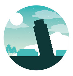 italian landmark tower pisa night moon vector image