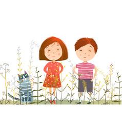 Kids boy girl and cat in grass field vector