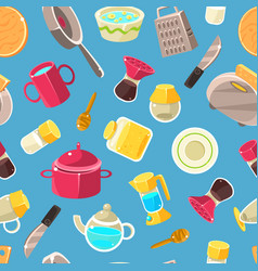 kitchen utensils seamless pattern design element vector image