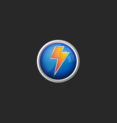 lightning logo 3d round glass button icon battery vector image