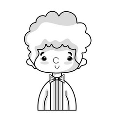 Line nice boy with elegant suit and hairstyle vector