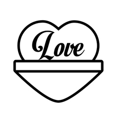 love heart message outline vector image