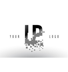Lp l p pixel letter logo with digital shattered vector