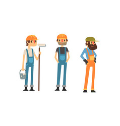 Man builder wearing jumpsuit and helmet vector