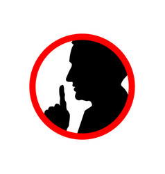 Man face profile with hand shhh forbidden icon vector
