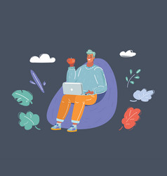 man sitting on a bean bag chair with laptop vector image